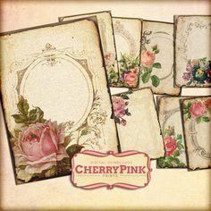 SHABBY ROSE shabby chic printable digital by CherryPinkPrints