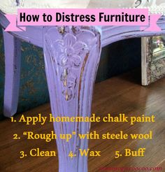 Learn how to make homemade chalk paint. Paint and distress your chalk paint furniture. Step-by-step instructions with video tutorial.