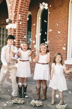 Flower Girls and Ring Bearer !  Love this picture !