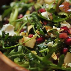 Arugula, Pear and Goat Cheese Salad with Pomegranate Vinaigrette recipe on Food52