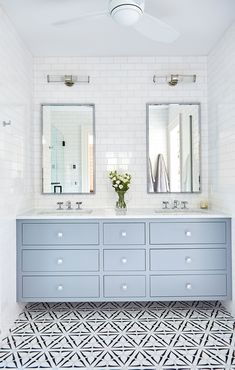 Looking for Bathroom and Double Vanity Bathroom ideas? Browse Bathroom and Double Vanity Bathroom images for decor, layout, furniture, and storage inspiration from HGTV. Bathroom Vanity Lighting, Bathroom Faucets, Remodel Bathroom, Bathroom Cabinets, Bathroom Vanity With Drawers, White Vanity Bathroom, Bath Vanities, Bathroom Black, Floating Bathroom Vanities