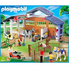 2014 - Christmas - Playmobil horse farm stable mega set 5877 Toy Horse Stable, Horse Stables, Horse Farms, Games To Buy, Games For Kids, Playmobil Sets, Small Barns, Heart For Kids, Legoland