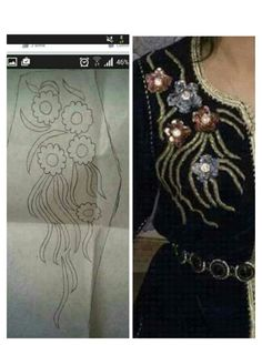 Stencil for embroidery Hand Embroidery Dress, Tambour Embroidery, Bead Embroidery Patterns, Hand Embroidery Designs, Ribbon Embroidery, Floral Embroidery, Embroidery Stitches, Tambour Beading, Motifs Perler