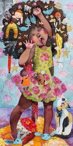 Illustration by Raquel Diaz Reguera Black Girl Art, Black Women Art, Art Girl, African American Art, African Art, Natural Hair Art, Natural Hair Styles, Natural Baby, Illustrations