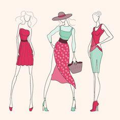 Mujer compras y moda   Vector Clipart