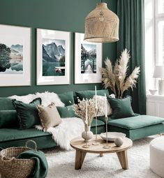 Living Room Green, Green Rooms, New Living Room, Living Room Wall Art, Small Living Rooms, Jungle Living Room Decor, Paint Colors For Living Room, Interior Design Living Room, Living Room Designs