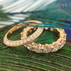 Our unique rose gold and diamond eternity bands are spectacular! They look amazing on their own or stacked with other rings for a more fashion forward look.