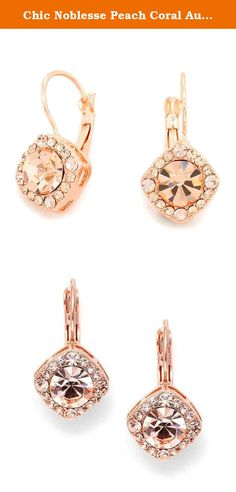 Chic Noblesse Peach Coral Austrian Crystal Rose Gold Elegant Affordable Drop Earrings. Gorgeous design vintage style inspired delicate, fresh Peach Crystal Women's statement rose gold Earrings.