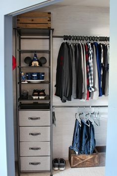 Kids Closet Organizer System Closet Ideas Organized Kids Closet With An Idesign Modular Closet Storage System Closet Organizer And Closet Organization Tips Clean And Scentsible Small Closet Storage, Closet Storage Systems, Baby Closet Organization, Organization Hacks, Small Closets, Diy Clothes Closet, Diy Clothes Storage, Diy Storage, Storage Ideas