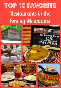 If you are visiting the Gatlinburg, Pigeon Forge or Sevierville area you will want to check out these Top 10 Favorite Restaurants in the Great Smoky Mountains Gatlinburg Vacation, Tennessee Vacation, Gatlinburg Tn, Vacation Trips, Vacation Ideas, Family Vacations, Gatlinburg Tennessee Restaurants, Pigeon Forge Restaurants, Sevierville Tennessee