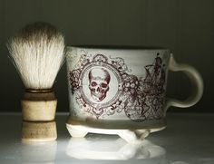 Men's Shaving Mug and Shaving Brush Skull Dude's by mudstuffing, $35.00