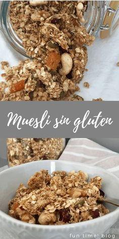 Receta de muesli o granola casero sin gluten, con frutos secos y frutas deshidratadas según el gusto de cada casa. #muesli #singluten #funtimeblog