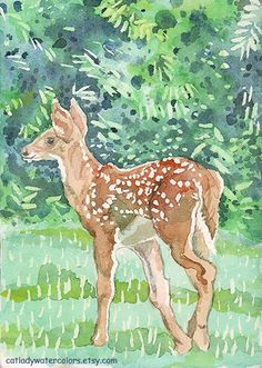 Baby Deer Watercolor Print. Watercolor fawn. Country decor.