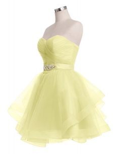 Simple Sweetheart Ruffles A-line Short Yellow Homecoming Dresses With Beading