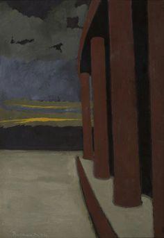 Léon Spilliaert (Belgian, 1881-1946),Colonnade at dusk, 1920. Gouache on paper, 75 x 51 cm.