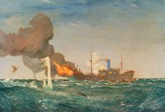 HMS 'Dunraven VC' in Action against the Submarine That Sank Her, 8 August 1917 by Charles Pears.  Date painted: 1917