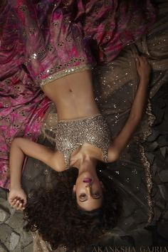 Absolutely Stunning Pink Floral Mirror Work #Lehenga By Akansha Gajria.