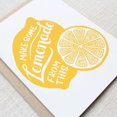 """Maple & Belmont is happy to introduce their """"Lemonade"""" card to give to friends when they need an encouraging word or two. This design features hand-drawn illustrations and text. Brainstorm, Web Design, Fruit Illustration, 3d Prints, Card Making Inspiration, Graphic Design Typography, Logo Design Inspiration, Art Lessons, Packaging Design"""