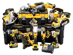 DeWalt XR Li-ion T-Stak Kit The FFX / DeWalt XR Li-ion power tool kit includes a top range of DeWalt tools and accessories. The TStak Toolbox is designed to keep your tools organized and safe both on and off the work site. Woodworking Tools For Sale, Essential Woodworking Tools, Woodworking Clamps, Tool Organization, Tool Storage, Milwaukee, Dewalt Tstak, Power Tool Kits, Dewalt Power Tools