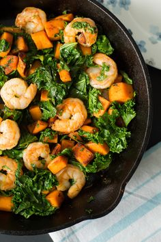 Sweet potato, Kale and Shrimp skillet | Primavera Kitchen
