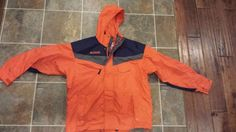 Mens COLUMBIA Orange Hooded Ski Jacket Winter Coat Size: L