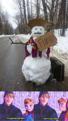 Frozen FLORDIA I'M GOING TO TELL HIM NO DON'TYOU DARE TRLL HIM LOL. Love this snowman hitchhiking to Florida. Suitcase packed, check.