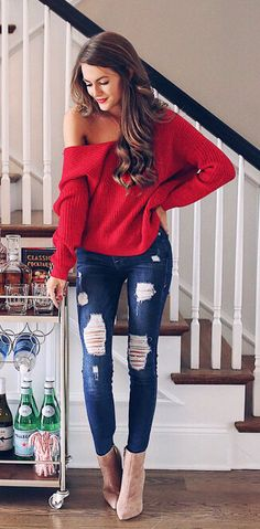 #fall #outfits women's red knitted sweater and blue-washed distressed jeans