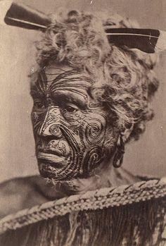 Description - Maori au visage tatoué (Maori man with a tattoed face)    Date - 1860-1889    Source - Photothèque du Musée de l'Homme via French National Library
