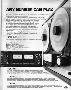 1970 ad for the Teac TCA-40 ad in Phantom Productions vintage reel to reel tape recorder collection