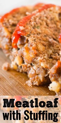 Meatloaf with Stuffing is a tasty 2 pound ground beef meatloaf made with Stove Top stuffing mix. #stovetopmeatloaf