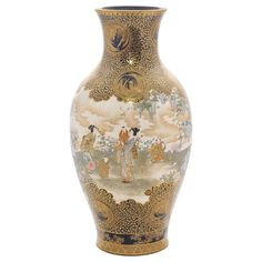 Large 'Kinkozan' Satsuma Vase | From a unique collection of antique and modern porcelain at https://www.1stdibs.com/furniture/dining-entertaining/porcelain/