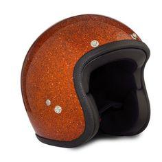 """""""Golden Orange"""" metal flake open face helmet by 70s"""
