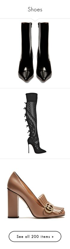 """Shoes"" by bliznec-anna ❤ liked on Polyvore featuring shoes, boots, ankle booties, leather bootie, pointed toe booties, black ankle boots, pointy-toe ankle boots, black bootie, black and black pointed toe boots"
