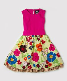 This simply sweet fit-and-flare dress features a boldly patterned skirt to create a darling outfit she will adore.