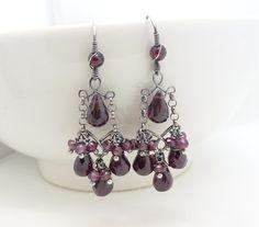 Red garnet earrings, sterling silver wire wrapped jewelry, handmade garnet chandelier earrings, dark red garnet jewelry, january birthstone