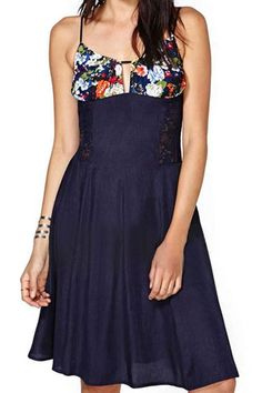 abaday Straps Floral Print Lace Panel Pleated Dark-blue Dress - Fashion Clothing, Latest Street Fashion At Abaday.com