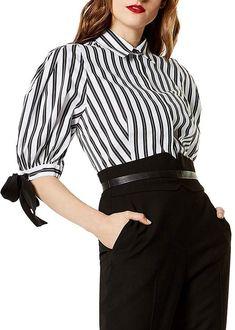 9e4c8f822e8  affiliatead -- KAREN MILLEN Balloon Sleeve Striped Shirt --  chic only   glamour always