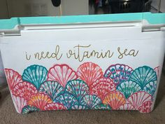 I need vitamin sea Lilly Pulitzer print painted cooler Fraternity Coolers, Frat Coolers, I Cool, Cool Stuff, Bubba Keg, Diy Cooler, Beach Cooler, I Need Vitamin Sea, Cooler Designs