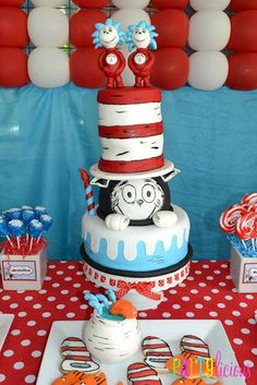 Cat in the Hat First Birthday Party Cake - Spaceships and Laser Beams