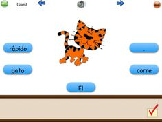 Yes!  Listen to the sentence in Spanish and drag the words to their place.  Sentences increase in complexity as you go.    Spanish Sentence Builder iPad App | SpanglishBaby™
