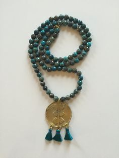 Long Faceted Turquoise Bead African Brass Pendant with Triple Mini Teal Silk Tassel Necklace