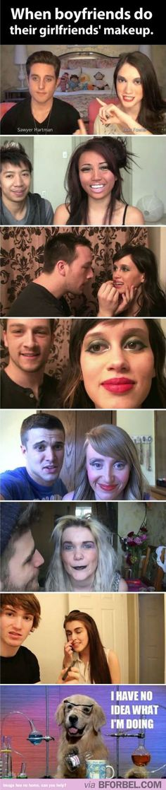 When boyfriends do their girlfriends' makeup. Guys should never complain about girls taking long again…
