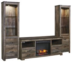 Signature Design by Ashley Trinell Large TV Stand w/ Fireplace & 2 Tall Piers - Item Number: W446-68+W100-01+2x24