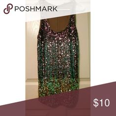 Purple, silver, and gold sequin tank Gently used sequin ombre going out tank top Express Tops Tank Tops