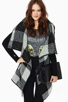 Stockholm Plaid Wrap Coat