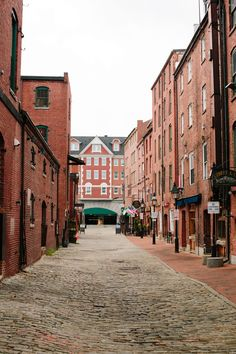 Cobblestone streets in the Old Port District of Portland, Maine. New England States, New England Travel, Rhode Island, Connecticut, Vermont, Moving To Maine, Maryland, Old Port, Portland Maine
