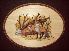 This unique Fox Embroidery Balsa Wood Art, Northwoods Wildlife Decor combines the warmth of wood with the raised texture of 19 different thread colors and 53,440 stitches. The design was machine embroidered into a sheet of balsa wood, then cut and mounted on an oak stained 7 x 9 x 1 plaque. The brown leather braided trim was added before a clear protective, non-yellowing acrylic matte finish was applied. A brass hanger is attached to the backside making it ready for hanging.    Balsa Wood…