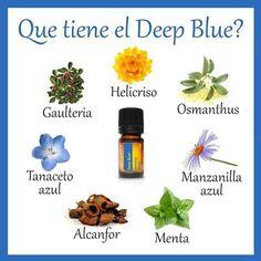 Qué tiene el Deep Blue? Essential Oils Guide, Doterra Oils, Carrier Oils, Organic, Health, Doterra Essential Oils, Diffuser, Natural Oils, Health And Nutrition