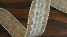 1.5 inch Burlap Lace Ribbon with Pearl by WhimsyChicDesigns