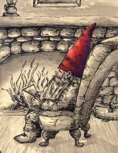 Gnome Reading by the Fire by Three Sister's Studio